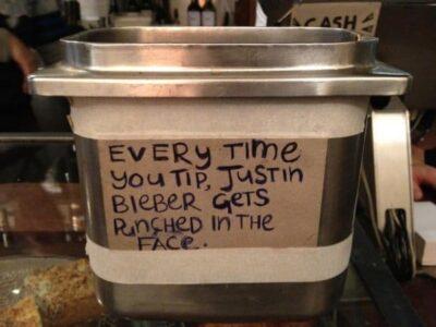 10 Funny Justin Bieber Tip Jars 3