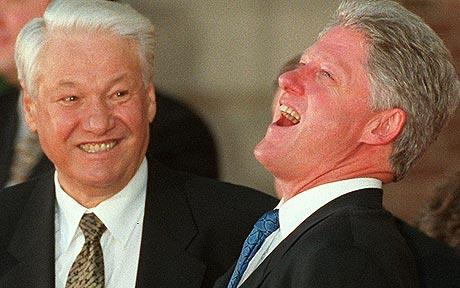 Boris Yeltsin and Bill Clinton
